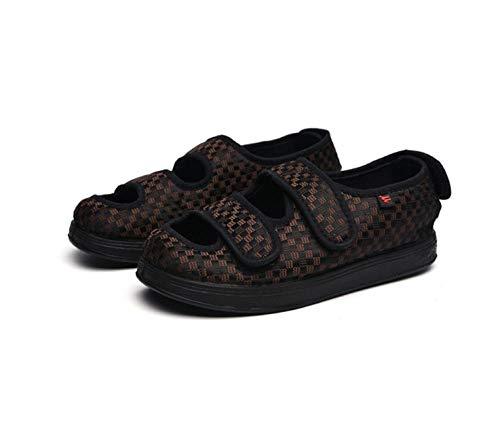ZR1LZ Ortopedia diabética,Zapatos de Mediana Edad y Ancianos, Zapatos de Velcro, Zapatos Deportivos Casuales, Zapatos de Tela, Zapatos de pie Ancho-Yellow_48