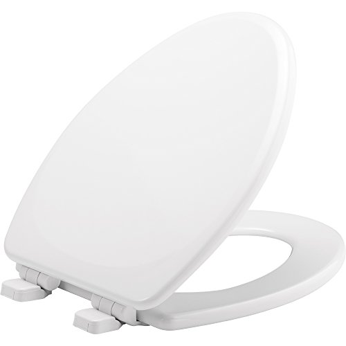 MAYFAIR 1843SLOW 000 Lannon Toilet Seat will Slow Close and Never Loosen, ELONGATED, Durable Enameled Wood, White