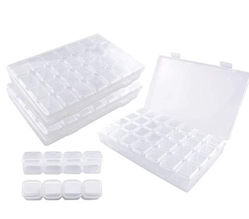 Ajustable Caja de Almacenamiento de Plástico con 28 Compartimentos para Joyas con Separadores Extraíbles para 5D Diamond Painting y Cross Stitch 3 Pack