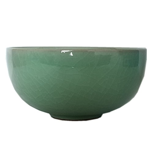 Seladon glasiert Chinesische Reisschale, 11,4cm mit Rissen, porzellan, armee-grün, 11,4 cm