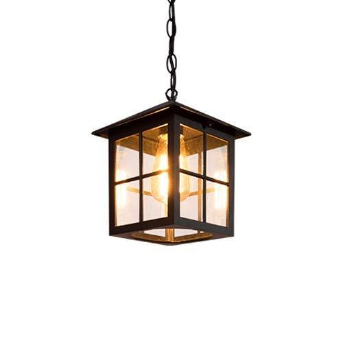 Retro hanglampen, buitenverlichting, industriële aluminium glazen scherm, kroonluchter, zwart, E27, waterdicht, IP23, hanglamp voor binnen en buiten, tuin, balkon, hal, trap, terras, 18 x 18 x 18 cm
