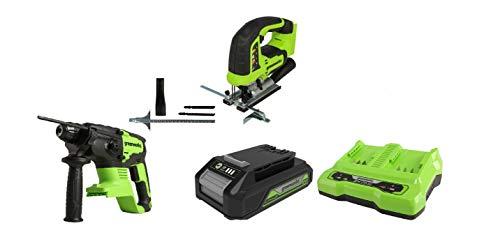 Greenworks Akku-Stichsäge GD24JS + Akku-Schlagbohrer GD24SDS2 +Akku G24B2 2.Generation +Doppelsteckplatz-Akku-Universalladegerät G24X2C