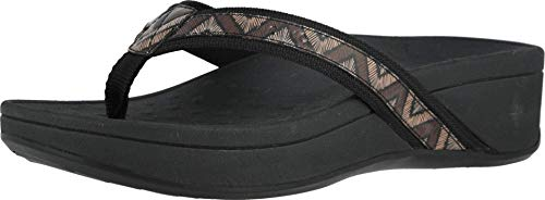 Vionic Women's Pacific High Tide Toepost Sandals – Ladies Platform Flip Flops with Orthotic Arch Support Black Chevron 8 Medium US