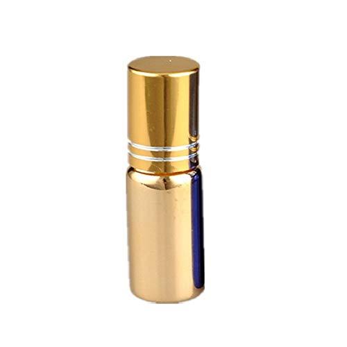 beautyhe Botella Roll-on De Aceite Esencial Crema para Ojos Muestra Subenvasada Botella Vacía Portátil Mini Roll-on Botella con Rodillo De Acero Inoxidable Gold