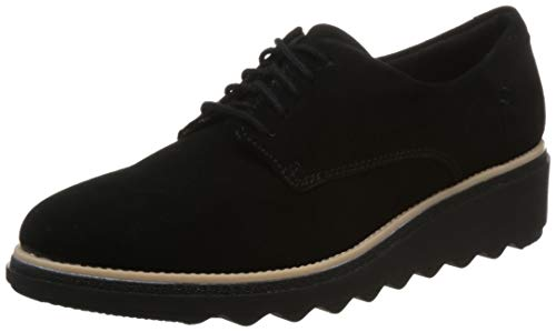 Clarks Sharon Noel, Zapatos de Cordones Derby Mujer, Negro (Black Nubuck), 37.5 EU