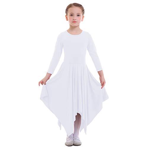 IBTOM CASTLE Danza Vestido de Ballet Flamenco Maillot Adulto con Falda Larga para Mujer Niñas Chica Disfraz Bailarina Niña Blanco 13-14 Años