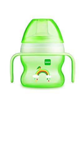 Taza de aprendizaje para bebés de 6 meses de MAM con boquilla suave y asas ergonómicas, 150 ml, color verde