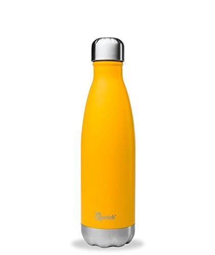 QWETCH - Bouteille Isotherme INOX 500ml - Maintient Vos Boissons au Chaud Pendant 12 Heures & au Frais Pendant 24 Heures – BPA Free - Safran