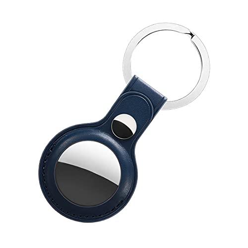 OLIGEI Schutzhülle für AirTag,Leder Hülle für AirTag Finder,Tracker Halter mit Schlüsselring,Kratzfeste Schutzhülle mit Schlüsselkette Kompatibel mit AirTag 2021 (Tiefes Blau,PU-Leder)