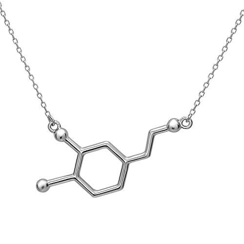 Dopamin Molekül Anhänger Halskette aus 925 Sterling Silber by Serebra Jewelry (Rhodium-Überzug)