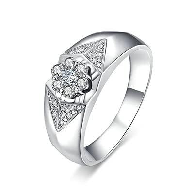 Bishilin Anillo de Mujer 750 Anillo de Compromiso, Amplio Flor 0.1ct Diamante Aniversario de Bandas de Anillo de Compromiso Regalos para Cumpleaños Fiesta de Navidad Oro Blancotamaño: 30