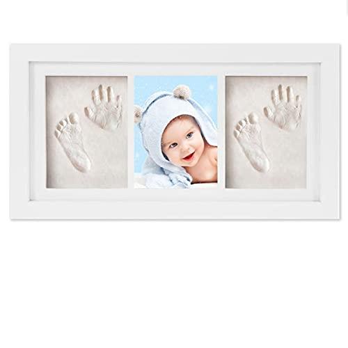 WesKimed Empreinte de main et de pied souvenir bébé,Argile blanche non toxique,cadre empreinte bébé en bois avec verre acrylique sûr,excellent cadeau naissance pour liste de naissance