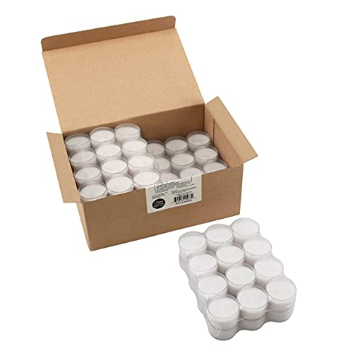 Stonebriar 96 Pack Unscented 6 to 7 Hour Extended Burn Time Clear Cup Tea Light Candles
