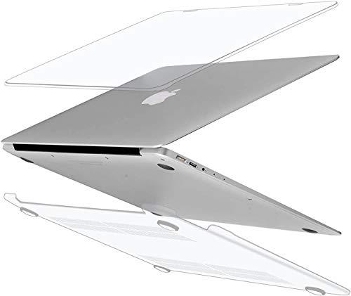 iNeseon Funda MacBook Air 13, Carcasa Delgado Case Duro y Cubierta del Teclado Transparente EU Layout para 2010-2017 MacBook Air 13 Pulgadas Modelo A1466 y A1369, Cristal Transparente
