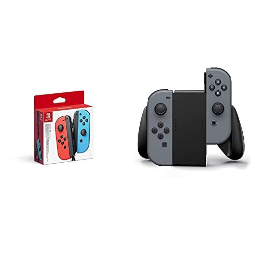 Nintendo Switch Paire de manettes Joy-Con - Droite Bleu néon/Gauche Rouge néon & Poignée de Confort pour Joy-Con Nintendo Switch - Noir