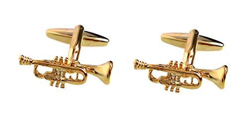 Unbekannt Trompeten Manschettenknöpfe vergoldet glänzend inkl. roter Geschenkbox