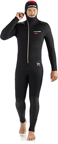Cressi Herren Diver Man Monopiece Wetsuit Premium Neopren Tauchanzug mit Angesetzter Haube - Erhältlich in 5/7 mm, Schwarz/Rot, XL/5 (5 mm)