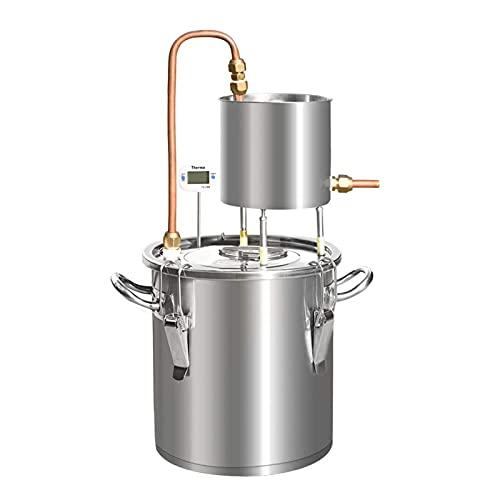 JIXIN Moonshine Still Alcool Distillateur Alcool Vinification Chaudière avec Thermomètre Pompe, 304 Acier Inoxydable, 12L
