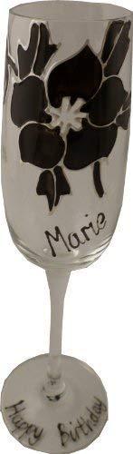 Personnalisé Noir Rose Champagne Flûte Maximum 25 Personnages