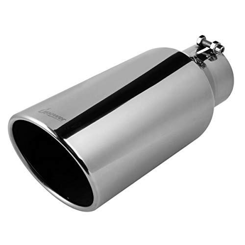 Stainless Steel Polished Weld On A-KARCK Exhaust Tip 2.5 Inch Inlet Muffler Tip 2.5 Inlet 4 Outlet 5 Long Dual Wall For Car Tailpipe