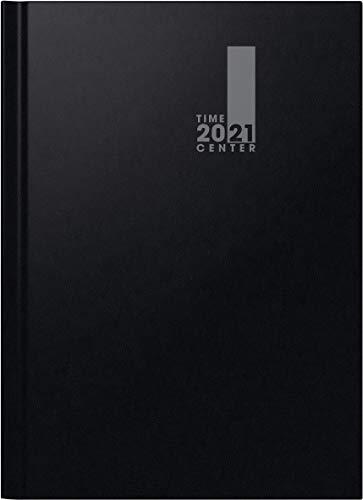 BRUNNEN 1072241901 Monatskalender/Buchkalender, 2021, 2 Seiten = 1 Monat, Blattgröße 21 x 29,7 cm, A4, Baladek-Einband schwarz