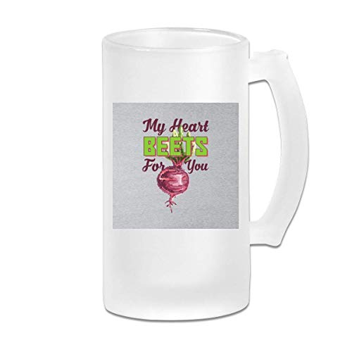 DJNGN Printed 16oz Frosted Glass Beer Stein Mug Cup My Heart Beets for You Beetroot Pixel Art - Graphic Mug