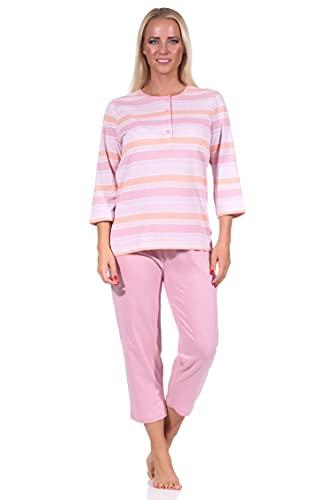 Damen Capri Pyjama Schlafanzug Kurzarm in zarter pastellfarbener Streifenoptik 58581, Farbe:rosa, Größe:52-54