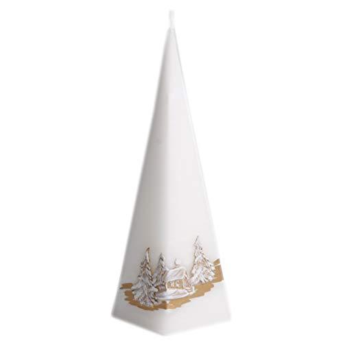Kerze Deko Pyramidenform weiß Snow 041495 Relief 230 mm