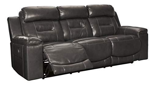 Signature Design by Ashley Pomellato Power Reclining Sofa with Adjustable Headrest Gray