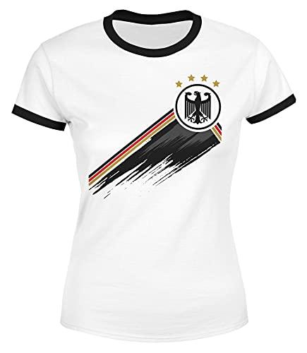 MoonWorks® Damen T-Shirt Deutschland Fußball EM-Shirt 2021 WM Fanshirt Deutschlandshirt Adler weiß-schwarz XL
