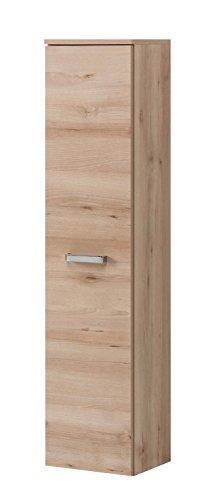 lifestyle4living Badezimmerschrank in Buche Iconic Dekor, schmal | Halbhoher Midischrank mit 1 Tür und 4 Einlegeböden