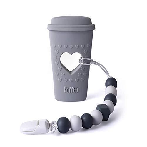 Coffee Cup shape Baby Teether giocattoli, Giocattoli Sensoriali, guanto dentizione neonato, giochi neonato 4 mesi, collana allattamento, 3.62.3 in