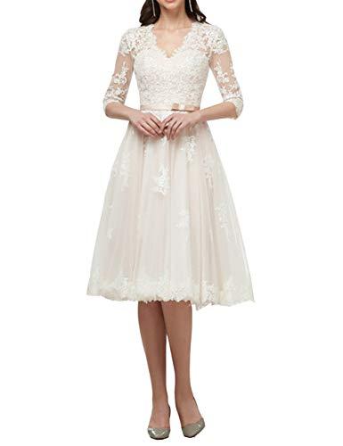 Brautkleider Spitze Lang Hochzeitskleider Standesamtkleider A-Linie Spitzenkleider Partykleider Brautmode Elfenbein 48