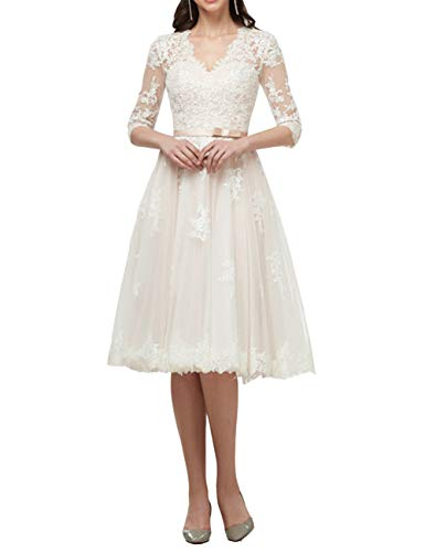 Brautkleider Spitze Lang Hochzeitskleider Standesamtkleider A-Linie Spitzenkleider Partykleider Brautmode Elfenbein 46
