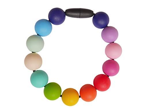 Baby Zahnungshilfe Perlen Armband aus Silikon im Regenbogen Design – Geschenk für Schwangere, Stillen Armband und Baby Armband – Babyarmband in sorgsamer Handarbeit gefertigt von MilkMama