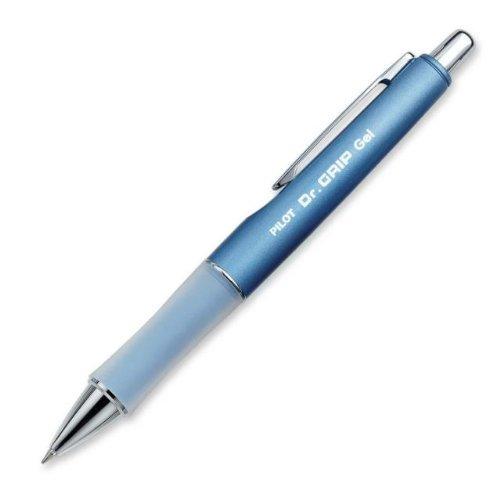 PILOT Dr. Grip Limited Refillable & Retractable Gel Ink Rolling Ball Pen, Fine Point, Metallic Ice Blue Barrel, Black Ink, Single Pen (36271)