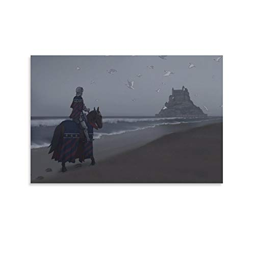 Fantasy Art of French Knights Cartoons Armor Horses Castles Beaches Poster Decorative Painting Canvas Wall Art Living Room Posters Bedroom Painting 20x30inch(50x75cm)
