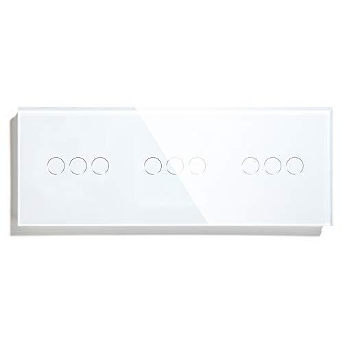 BSEED interruptor tactil Triple,3 Gang 1 Vía+ 3 Gang 1 Vía+3 Gang 1 Vía interruptor táctil de pared Blanco con indicador LED, interruptores de luz pared con con panel de vidrio templado
