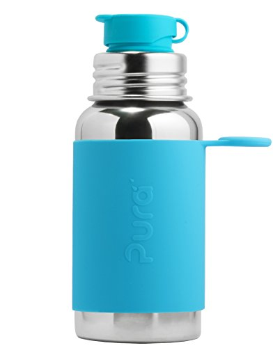 Pura Sport Edelstahl Flasche mit Silikon Sport Top, 18 Unze/550,Millimeter, Plastik Freies, Nicht Toxisch Zertifiziert, AQUA BLAU