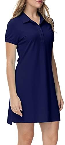 MoFiz Vestido de Polo Mujer Manga Corta Verano Algodón Trabajo Vestido Deportivo Tenis Golf Dress Azul Marino S