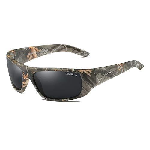 WANG LIQING Gafas de Sol polarizadas Hombres Camuflaje Envolvente para Hombres Mujeres Conduciendo 100% UV para Deportes u Otras Actividades en la Puerta Exterior (Color : Gray)