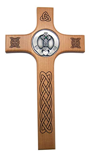 Wood and Silver-Toned Wall Cross with Celtic Knots and Claddagh Hands Centerpiece, 10 Inches