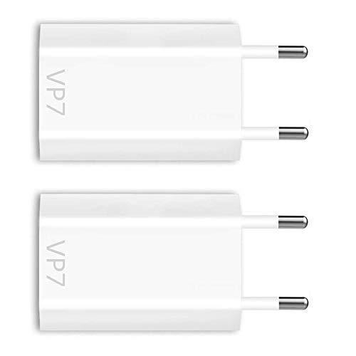VP7 2X USB Netzteil passend für iPhone X Xs Xr 8 Plus 7 Plus 6 Plus 6s SE 5 5s Netzstecker Adapter Ladeadapter [2 Stück] 5V / 1A