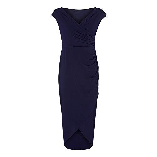 Anastasia - Vestido de Cóctel en Jersey Azul Marino Talla 48