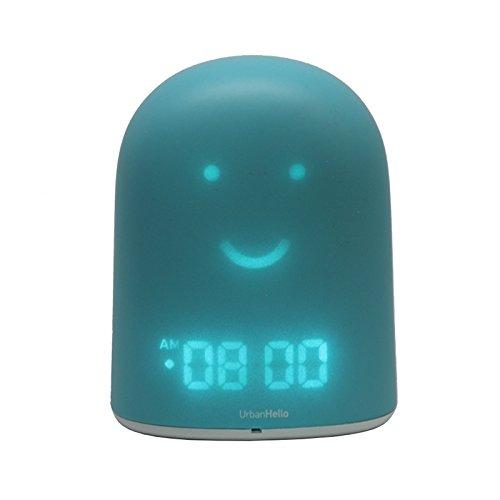 UrbanHello REMI - Réveil Enfant Jour Nuit éducatif et Suivi du sommeil - Babyphone Audio avec Alertes de Bruit 5-en-1 - Veilleuse - Enceinte Bluetooth - Bleu