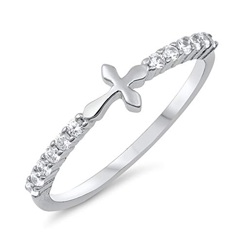 Clear CZ Sideways Cross Christian Purity Ring Sterling Silver Band