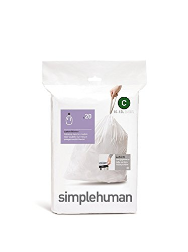 simplehuman Code C Custom Fit Drawstring Trash Bags, 10-12 Liter / 2.6-3.1 Gallon, White, 20 Count, Liners