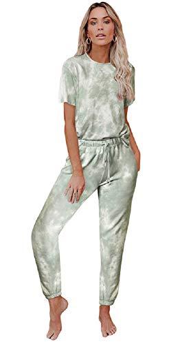 Conjunto Interior Mujer Dos Piezas Tie Dye Camiseta y Leggings Niña Ropa de Dormir Arco Iris Pijama Manga Corta Pantalon Largo Chandal Deporte Señora Traje de Casa Lenceria Camison Verano