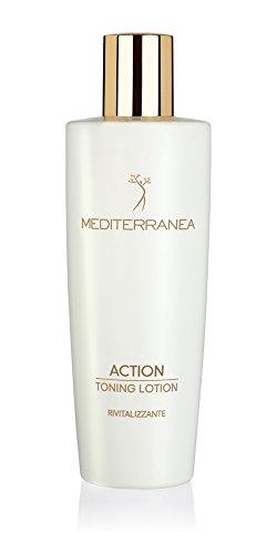 Mediterranea - Action Toning Lotion - Tonico per la Pelle del Viso e Décolleté - Trattamento Rivitalizzante e Nutriente - Pelle Liscia, Elastica e Vellutata - Deterge Delicatamente e Tonifica - 250 ml