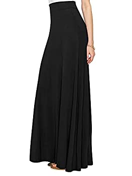 Lock and Love LL WB1434 Womens Solid Maxi Skirt with Elastic Waist Band M Black